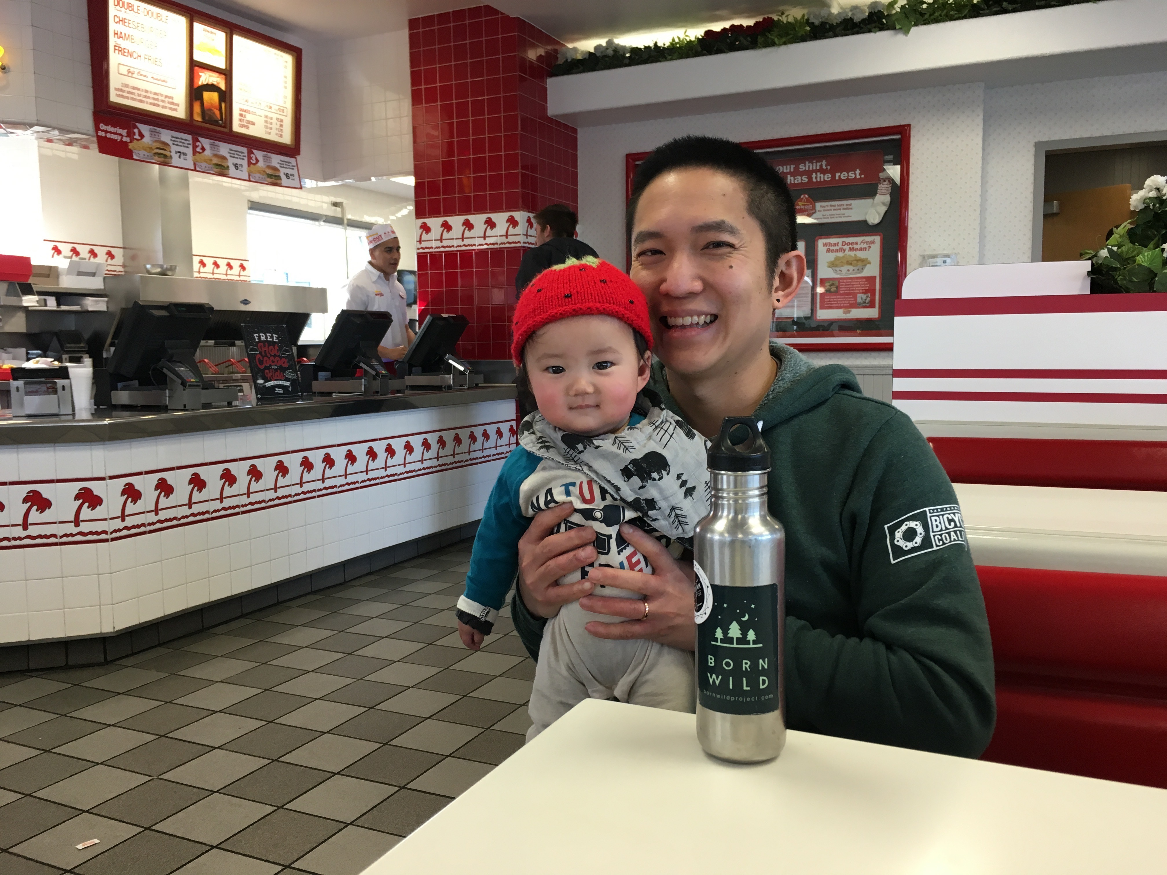 M and me at In-N-Out smiling